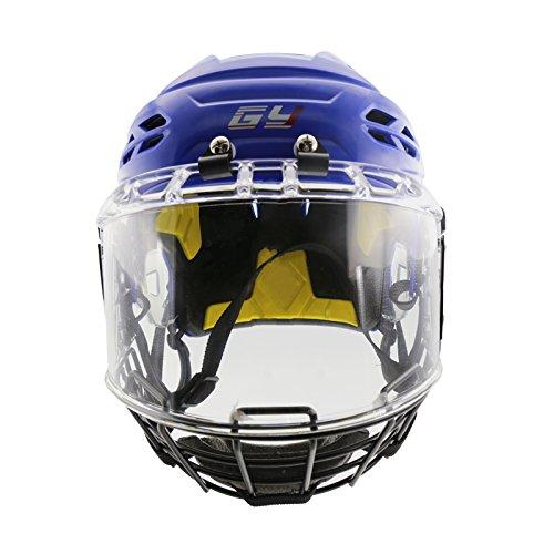 Helmets Combo Helmet Hockey (GY Innovative Vented Propene Polymer Ice Hockey Helmet with Face & Eye Shield Mask Combo Player Equipment (Blue))