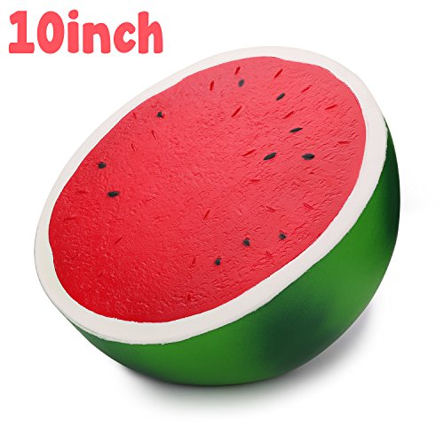 WATINC 1pcs 10inch Jumbo Watermelon Squishy Sweet Scented Funny Comfortable Squishy for Kid Toy, Lovely Toy,Stress Relief Toy,Decorations Toy Gift Large Watermelon