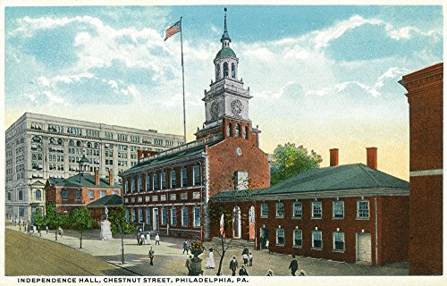 Philadelphia, Pennsylvania - Exterior View of Independence Hall, Chestnut Street (12x18 Art Print, Wall Decor Travel Poster)
