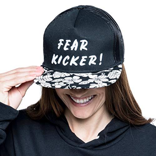 Kick Fear in the Face Fear Kicker Hawaiian Trucker Hat Black (Truckers Kickers)