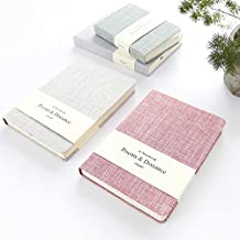 Zhi Jin A6 Thick Cloth Linen Notebook Journal Notepad Diary Wide Ruled Blank Paper Travel Office 100gsm 256 Pages Blue