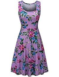 Women Sleeveless Beach Casual Flared Floral Tank Dress