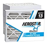 Aerostar 20x25x4 MERV 13 Pleated Air Filter, Made in the USA 19 1/2' x 24 1/2' x 3 3/4', 6-Pack