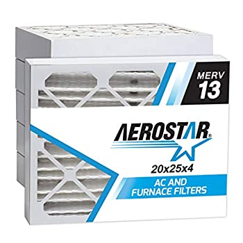 Image of Home Improvements Aerostar 20x25x4 MERV 13 Pleated Air Filter, Made in the USA 19 1/2' x 24 1/2' x 3 3/4', 6-Pack
