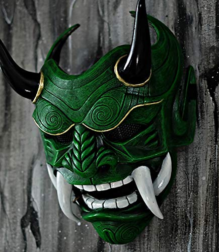 tripple_777 Samurai Assassin Demon Oni Airsoft Mask BB Gun Halloween Costume Ninja Warrior Evil Cosplay Green DA05