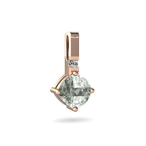 Amazon.com: 14 kt oro verde amatista y diamante 6 mm. cojín ...