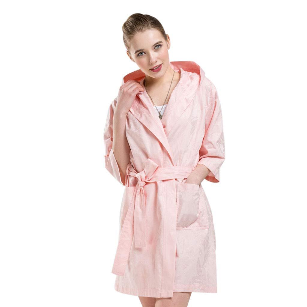 C Mesurn Spring and Summer Cotton Thin Bathrobes, YarnDyed Jacquard Craft, Environmentally Friendly Dyeing, ShortSleeved Hooded Home Robe