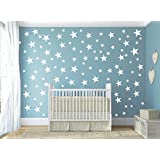 HACASO 90 PCS Mix Size 1.1 to 4.3 Inches Stars Wall Decal Sticker For Kids Bedroom Decor -DIY Home Decor Vinyl Stars Mural Baby Nursery Room Wallpaper(White)