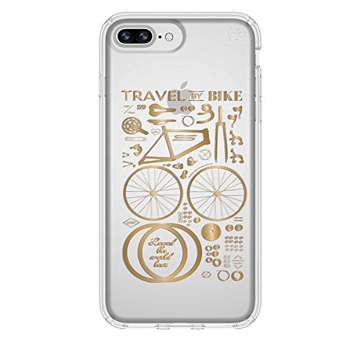 Speck iPhone 8 Plus Presidio Clear + Print Case, IMPACTIUM 8-Foot Drop Protected iPhone Case that Resists UV Yellowing, Metallic Yellow Gold/Clear