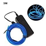 LED Neon El Wire Lights - 5M Neon Lights Glowing Strobing Dance Party Costume Decor Light Flexible EL Rope Neon Sign Waterproof LED Strip With Controller Box Indoor/Outdoor Decorations (Blue)