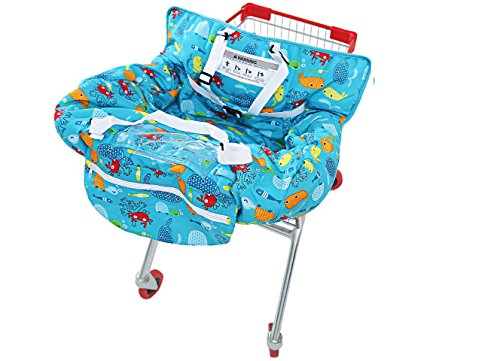 UNKU Multifunctional 2-in-1 Shopping Push Cart Cover High Chair Cover for Baby & Infant - Marine Blue ()