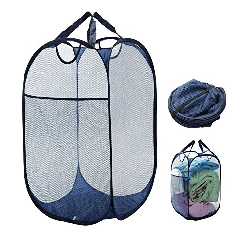 Collapsible Laundry Basket Clothes Hamper, Mesh Pop Up Laundry Hamper with Durable Handles, Large Side Pocket, 25.6 Inch High
