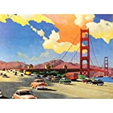 Wee Blue Coo Illustration Painting 1951 Drawing Golden Gate Bridge Art Large Art Print Poster Wall Decor 18x24 inch