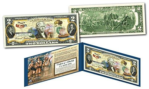 LOUISIANA PURCHASE Westward Journey Historical Genuine Legal Tender U.S. $2 Bill