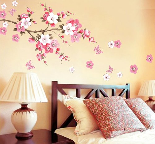 Rainbow wall stickers wall decor removable decal sticker for Cherry blossom bedroom ideas