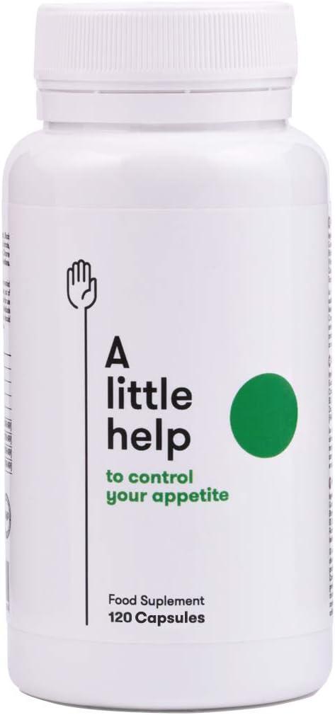 A Little Help para controlar el hambre. Complemento alimenticio saciante 100% natural. Controla tu apetito, nivel de glucosa y colesterol. 120 cápsulas vegetales.