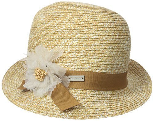 Betmar Women's Inge Cloche Hat with Ribbon, Natural/Multi...