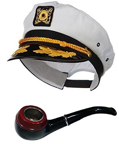 Nicky Bigs Novelties White Sailor Ship Yacht Captain Hat Gentleman Smoking HEFNER Pipe Costume Set (Hat Bakelite)