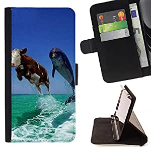 - Dolphins - - Premium PU Leather Wallet Case with Card Slots, Cash Compartment and Detachable Wrist Strap FOR Sony Xperia Z2 L50t L50W L50U King case