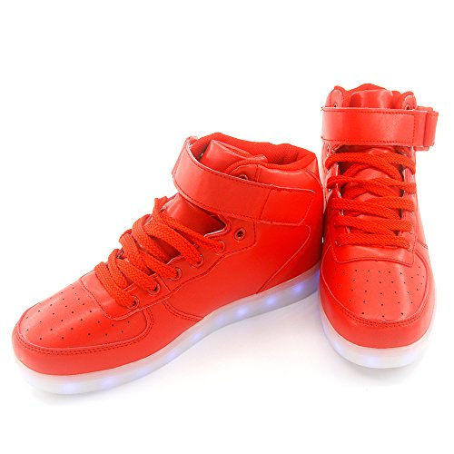 Jiujings Seymezliwe Vrouwen Mannen Hoge Coole Hoge Top Led Schoenen Led Oplichten Sneaker & 7 Kleuren Licht & Usb Oplader Knipperende Sneakers Volwassen Schoenen Red05