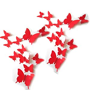 JYPHM 24PCS 3D Butterfly Wall Decal Removable Stickers Decor for Kids Room Decoration Home and Bedroom Mural Red