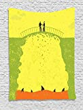 Grunge Decor Tapestry, Two Men Shaking Hands and Sharks under Bridge Business Murky Illustration, Wall Hanging for Bedroom Living Room Dorm, 60 W x 80 L Inches, Yellow Green