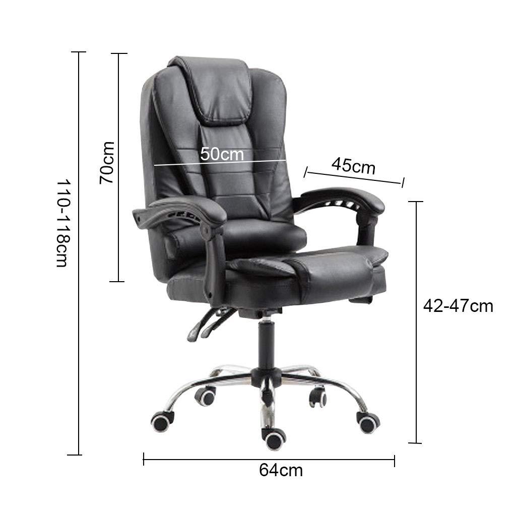 Kontorsstol, Executive Pu läder hög rygg vilstol roterande kontorsstol med midjestöd justerbar höjd datorstol BRUN