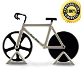 Pizza Blaze bike, Bicycle shape Pizza Cutter / Slicer - 2 Stands - Dual Stainless Steel Wheel Blades - A Sporty and Awesome Kitchen Gift (White)