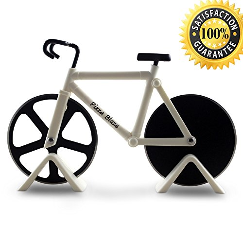 Pizza Blaze bike, Bicycle shape Pizza Cutter / Slicer - 2 Stands - Dual Stainless Steel Wheel Blades - A Sporty and Awesome Kitchen Gift (White) (Bike Pizza Cutter Fixie)