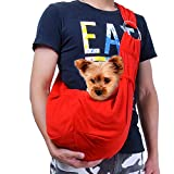 TOMKAS Small Dog Cat Carrier Adjuastable Sling Hands Free Pet Puppy Outdoor Travel Bag Tote Reversible (Red Adjustable)