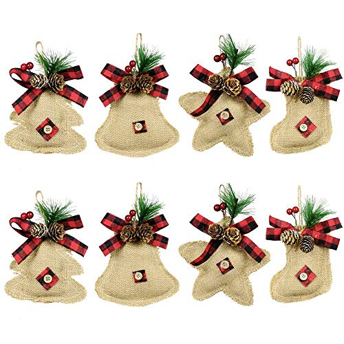 YOSICHY Rustic Christmas Tree Ornaments Stocking Decorations Burlap Country Christmas Stocking Stars Tree Bell with Trendy Red and Black Plaid Tartan for Holiday Party Decor-8PCS