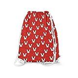 Bunny Bow Red - Large (13.3 x 17.3) - Drawstring Bag