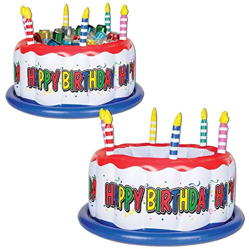 """Price comparison product image Pack of 6 Colorful """"Happy Birthday"""" Inflatable Birthday Cake with Candles Drink Cooler 24"""""""