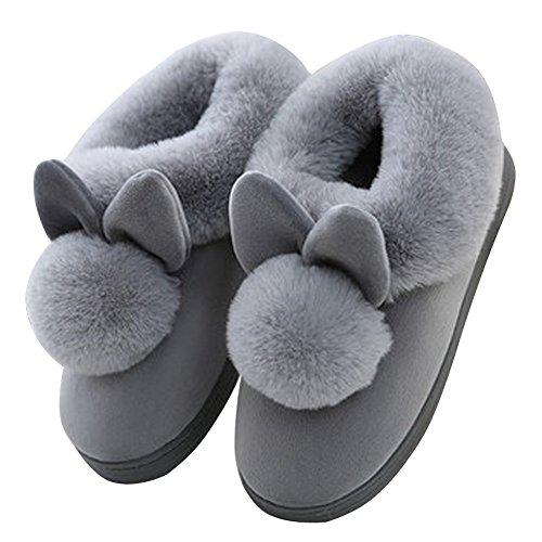 A Inverno Pattini Peluche Unisex Minetom Coniglio Pantofole Spessore Inferiore Morbido Casa Antiscivolo Uomo Grigio Slippers Donna Caldo Scarpe Cartone Tq7wWRdw