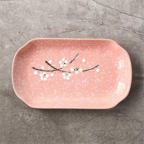 (Japanese-style hand-painted plum blossom underglaze ceramic tableware home rectangular dish dish fruit plate steamed fish plate pink 30.5x18cm)