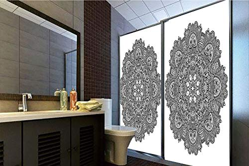 No Glue Static Cling Glass Sticker,Lotus,Ornamental Mandala with Lace Pattern Featured Mixed Flower Petals Ethnic Folk Design Decorative,Black White,39.37