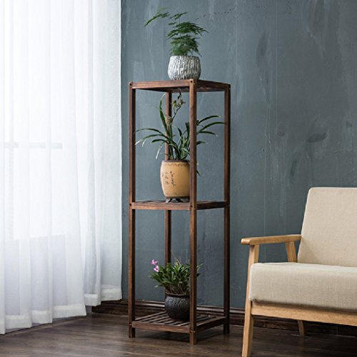 Flower Racks Solid Wood Flower Pots Living Room Balcony Plant Shelves Horticultural Shelves 3 Layer LWH: 2828120CM ( Color : Charcoal ) by LITINGMEI Flower rack