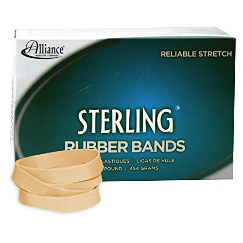 Alliance Rubber 24945 Sterling Rubber Bands Size #94, 1 lb Box Contains Approx. 140 Bands (3 1/2 x 3/4, Natural Crepe)