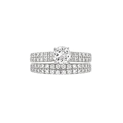 Solid 14k White Gold Round Cut 286ct Simulated Diamond Engagement