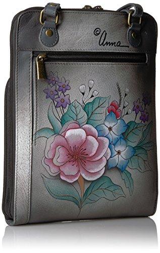 Grey Garden Grey Zippered Handpainted Leather Anuschka Organiser Garden Anna Vintage Vintage q0Sawzx
