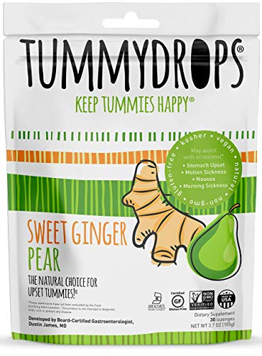 Non-GMO Verified Sweet Ginger Pear Tummydrops, 30 count resealable -