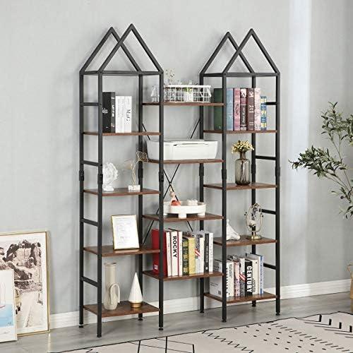 MELLCOM Triple Wide 4 Tier Industrial Bookshelf - the best modern bookcase for the money