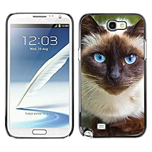 good case MOVEWAY Smartphone case cover Back Lovely Dog Picture Image Black Edge Cover For SAMSUNG GALAXY NOTE II 2 N7100 - aVwJ3L54cxi siamese cat blue eyes feline thai