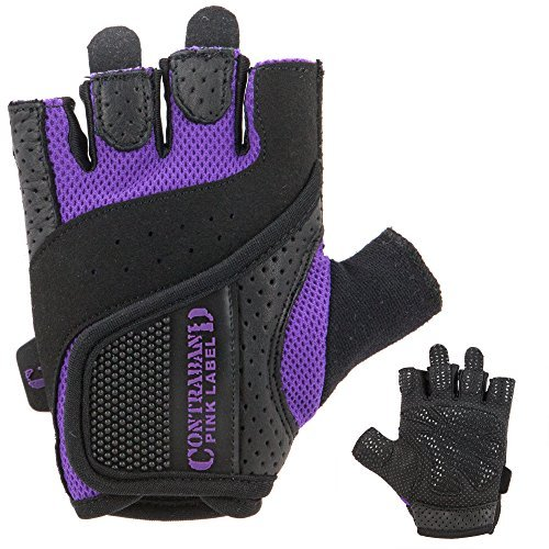 Contraband Pink Label 5137 Womens Weight Lifting Gloves w/Grip-Lock Padding (PAIR) (Purple, X-Small)