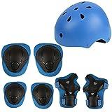 Herbalcandybox Kid's Protective Gear Set with Wrist Guard Knee Pads Elbow Pads Helmet,Blue