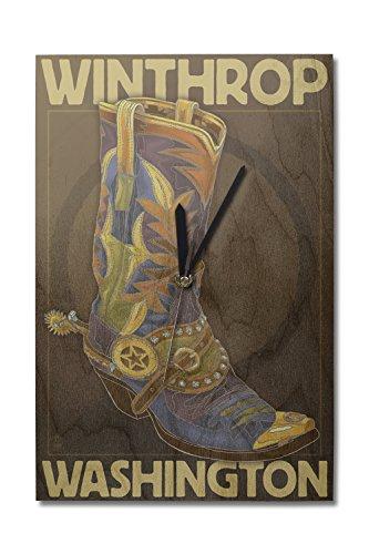(Lantern Press Winthrop, Washington - Boot Design (10x15 Wood Wall Clock, Decor Ready to Hang))