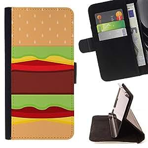 King Art - Premium-PU-Leder-Prima caja de la PU billetera de cuero con ranuras para tarjetas, efectivo Compartimiento desmontable y correa para la mu?eca FOR Apple Iphone 5C- Hamburger