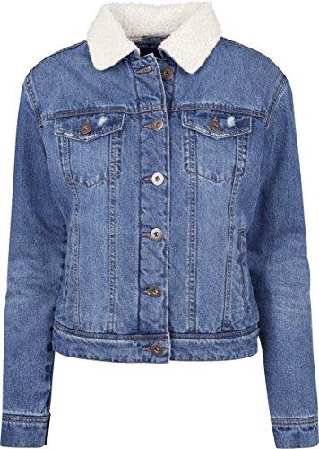 Urban Classics Ladies Sherpa Denim Jacket, Chaqueta para Mujer, Schwarz (Blue Washed 799), X-Large