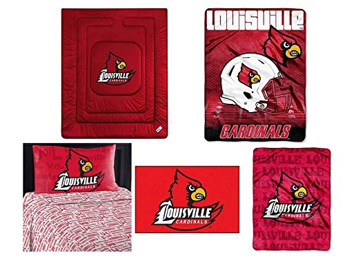 Northwest NCAA Louisville Cardinals 7pc Ensemble: Includes twin comforter, twin flat sheet, twin fitted sheet, pillowcase, rug, throw, and blanket