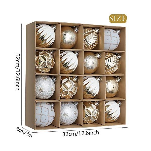Valery Madelyn Palle di Natale 16 Pezzi 8cm Palline di Natale, Eleganti Ornamenti di Palle di Natale Infrangibili in Oro e Bianco per la Decorazione Dell'Albero di Natale 2 spesavip